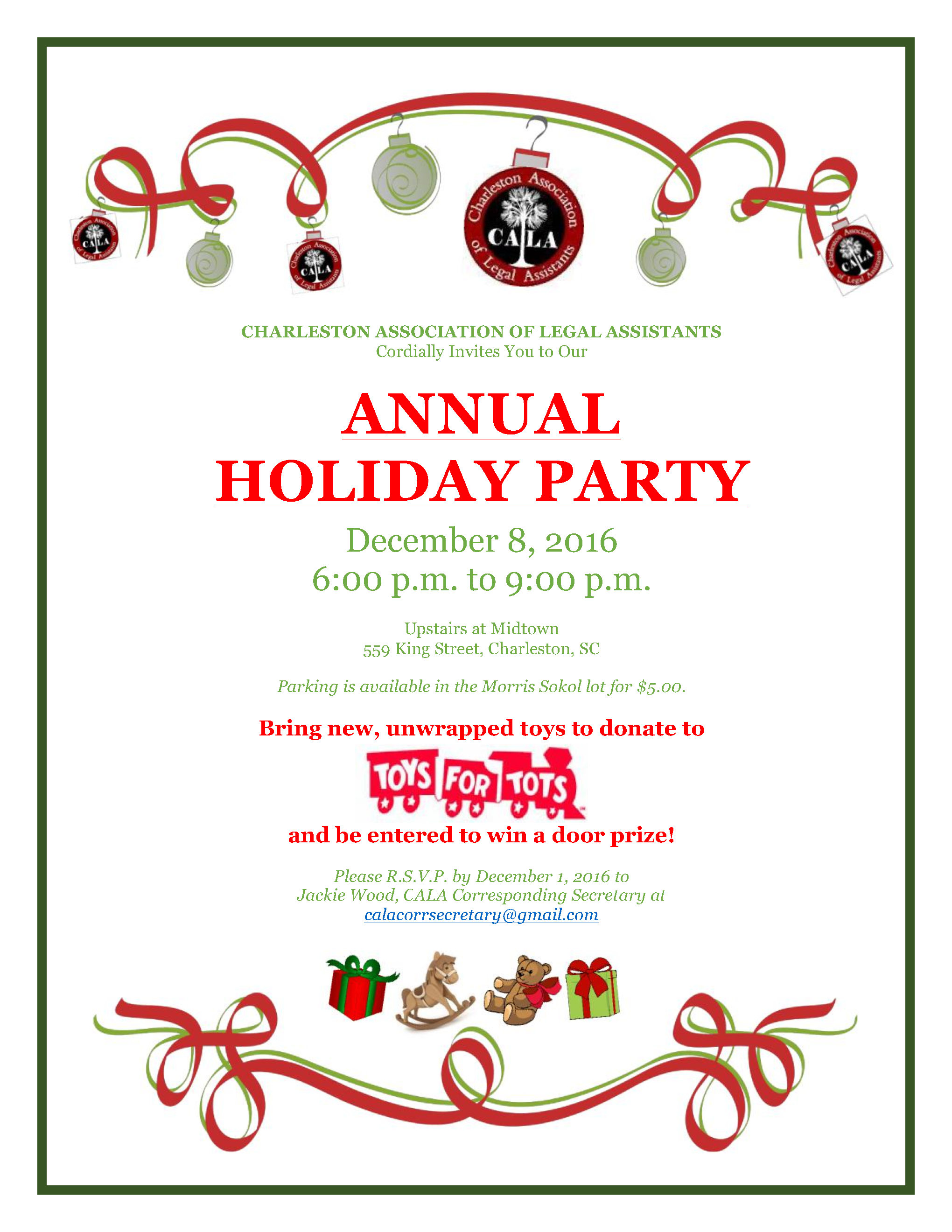 2016 ANNUAL CALA Holiday Party! – Charleston Association of Legal ...