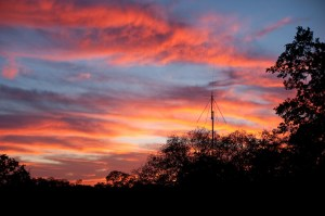 Beautiful pink sunset over our Diamond scanner antenna