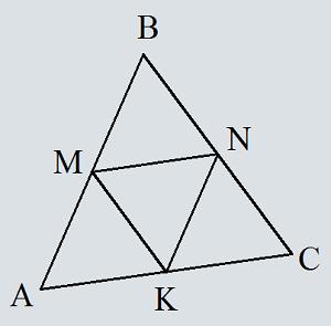 Omkrets av en triangel längs dess medianlinjer