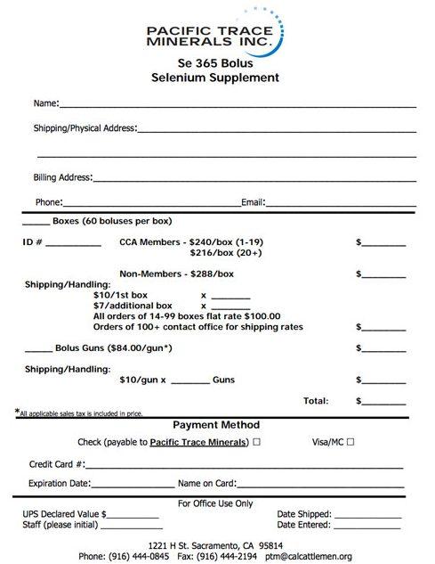 Selenium Bolus Order Form