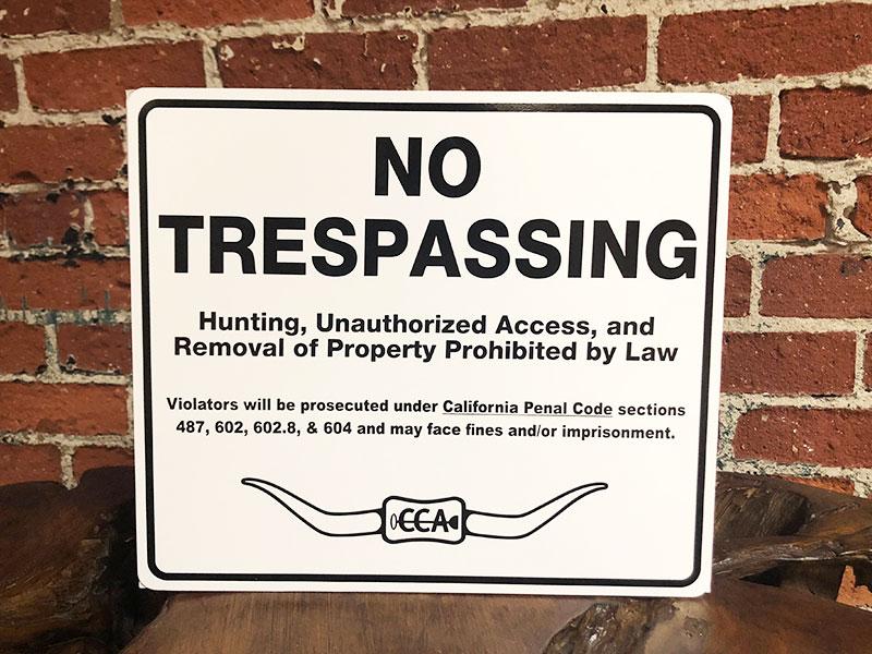 CCA No Trespassing Sign