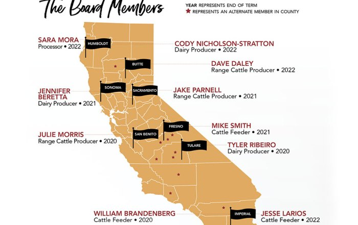 Map of Board Members for the California Cattle Council