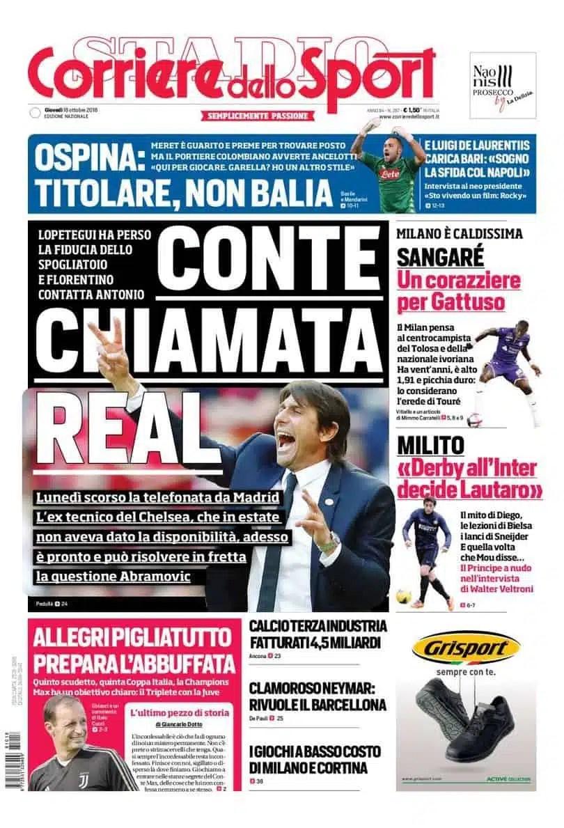 prima pagina corriere dello sport giovedì 18 ottobre 2018