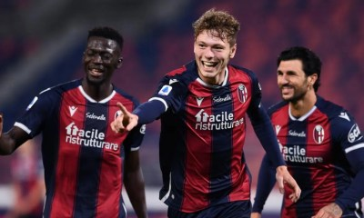 esultanza gol Andreas Skov Olsen Bologna