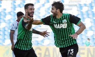 esultanza gol Locatelli Caputo Sassuolo