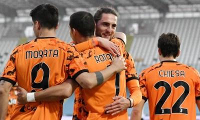 Esultanza Morata Ronaldo Chiesa Rabiot Juventus