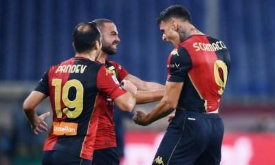 Esultanza gol Scamacca Pandev Genoa