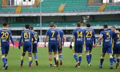 Esultanza giocatori Hellas Verona