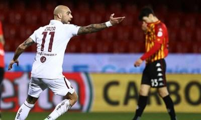 Esultanza gol Zaza Benevento-Torino
