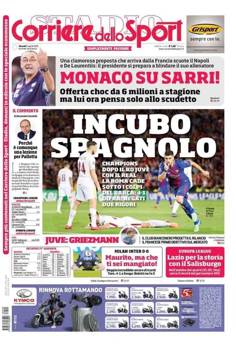 prima pagina corriere dello sport 5 aprile 2018