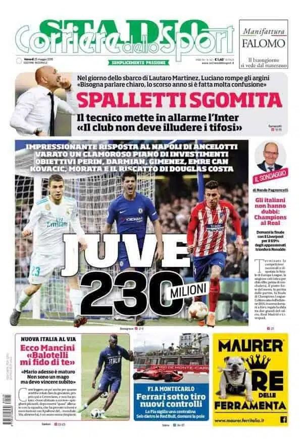 prima pagina corriere dello sport venerdi 25 maggio 2018
