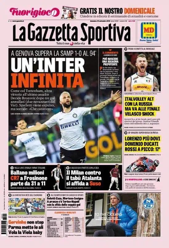 prima pagina gazzetta dello sport domenica 23 settembre 2018