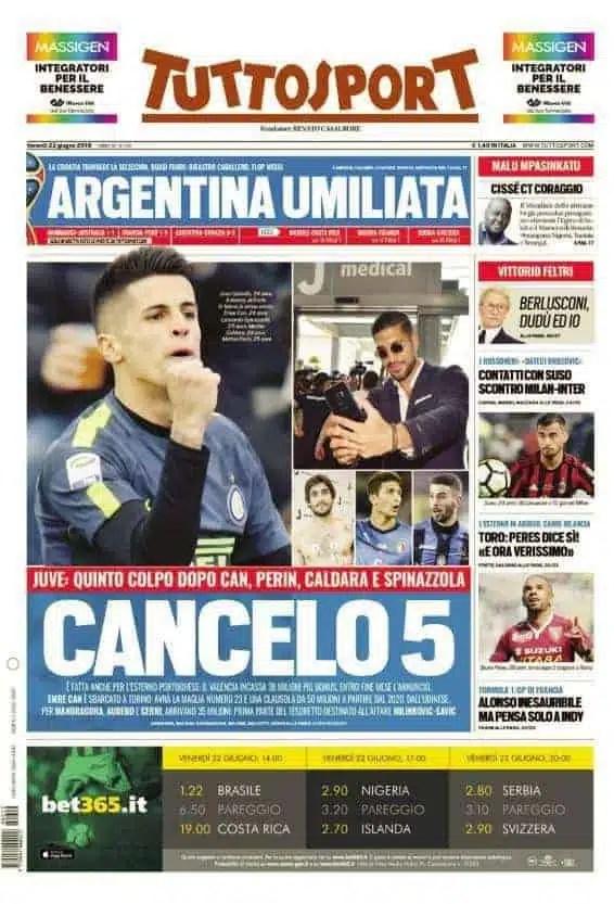 prima pagina tuttosport venerdi 22 giugno 2018