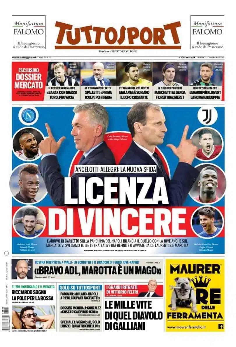 prima pagina tuttosport venerdi 25 maggio 2018
