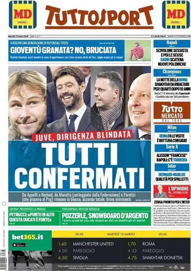 prima pagina tuttosport 13 marzo
