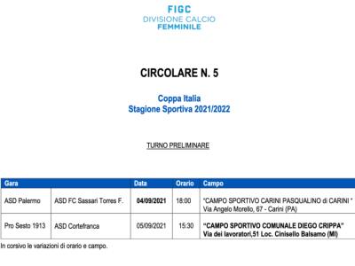 Preliminari Coppa Italia