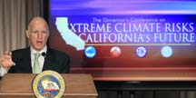 Governor Jerry Brown offers opening remarks at the conference on Extreme Climate Risks and  California's Future.