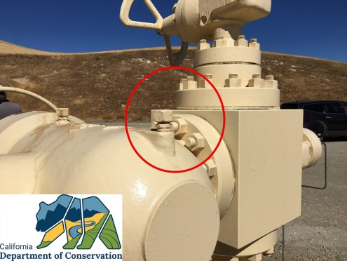 Wellhead bolt to be monitored with a FLIR camera.