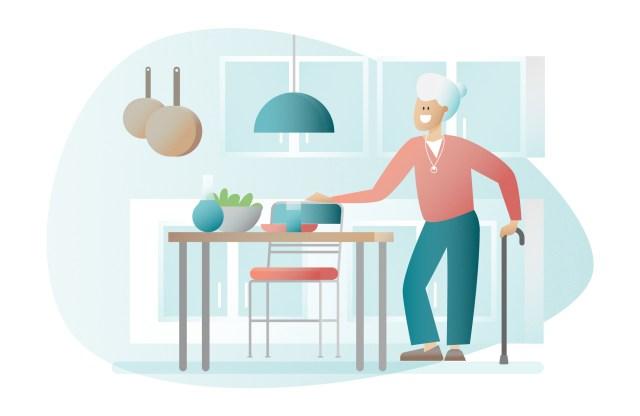illustration d'une femme âgée à domicile marchant avec une canne