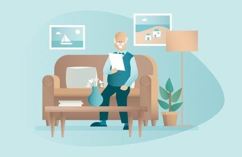 illustration d'un homme âgé à domicile calculant son APA
