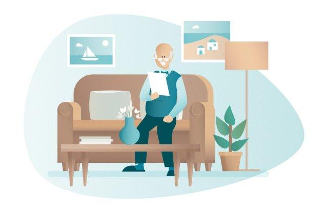 illustration homme senior à domicile effectuant démarches administratives