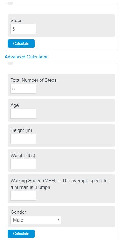 Steps to calories calculator