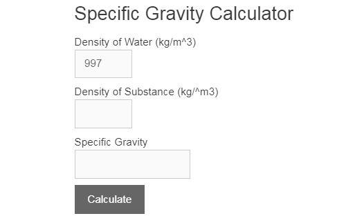 specific gravity calculator