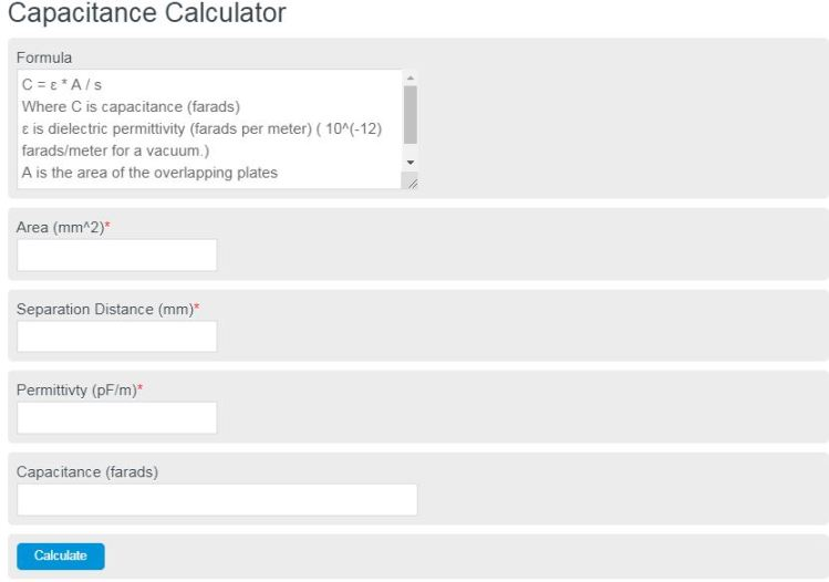 capacitance calculator