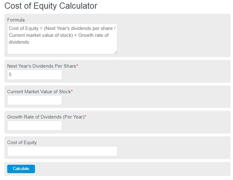 cost of equity calculator
