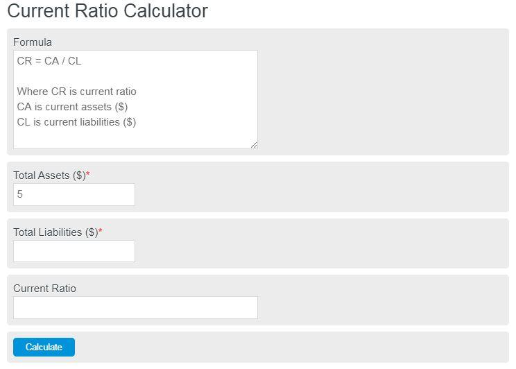 current ratio calculator