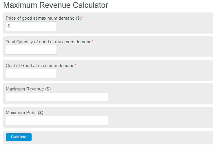 maximum revenue calculator