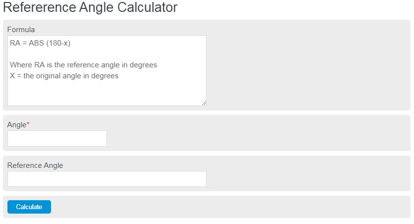 reference angle calculator