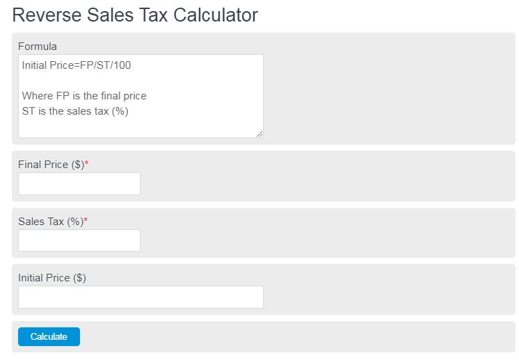 reverse sales tax calculator