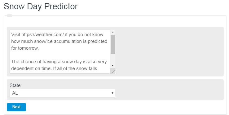snow day calculator