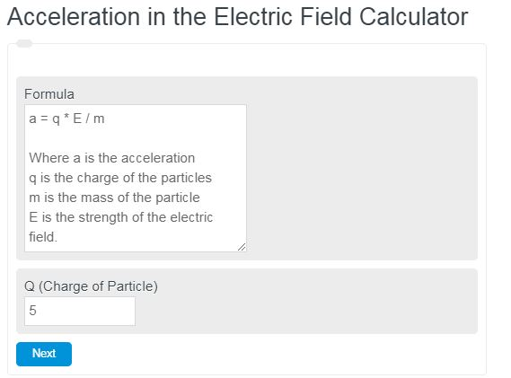 Acceleration in the Electric Field Calculator