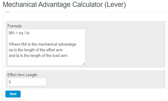 Mechanical Advantage Calculator (Lever)