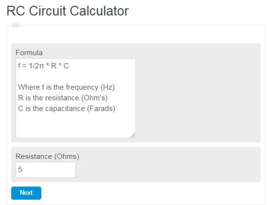 RC Circuit Calculator