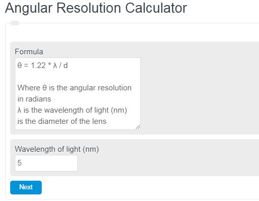 Angular Resolution Calculator