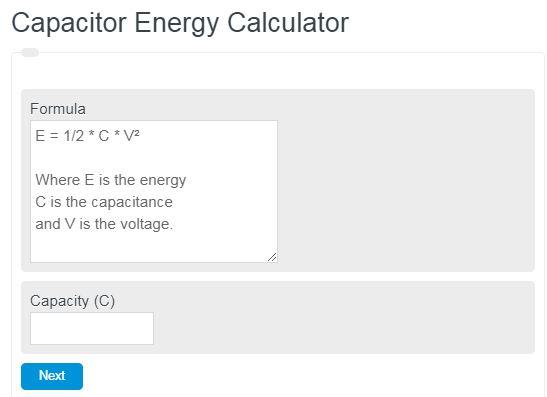 Capacitor Energy Calculator