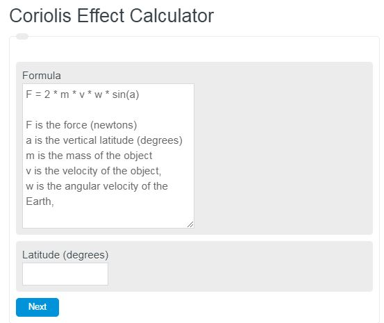 Coriolis Effect Calculator