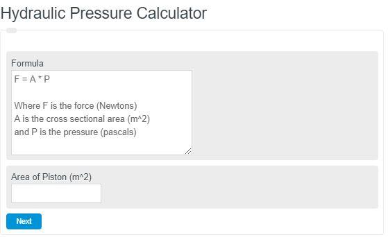 Hydraulic Pressure Calculator