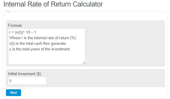 internal rate of return calculator
