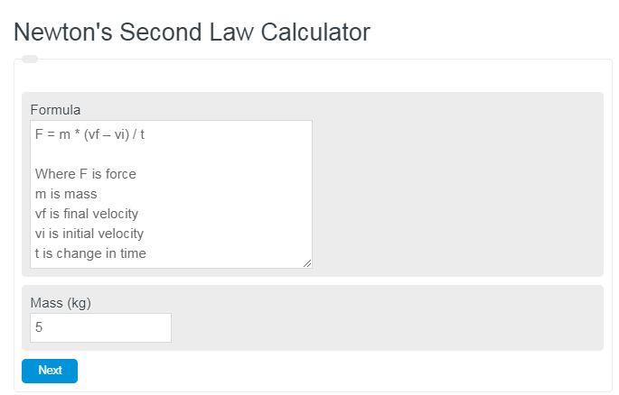 Newton's Second Law Calculator