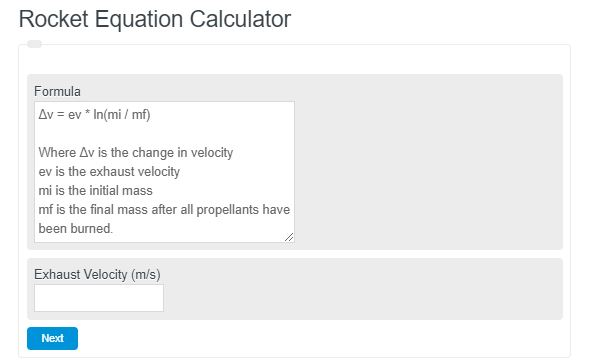 rocket equation calculator