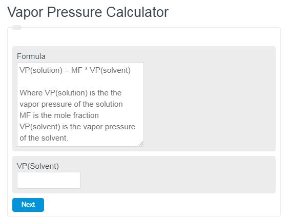 Vapor Pressure Calculator