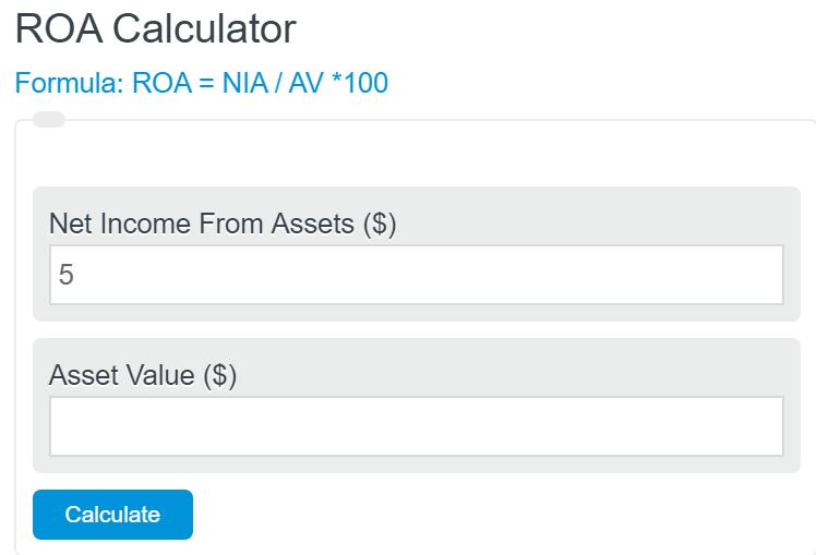 Return on assets calculator