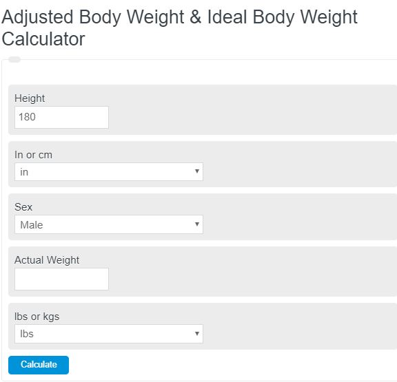 adjusted body weight calculator