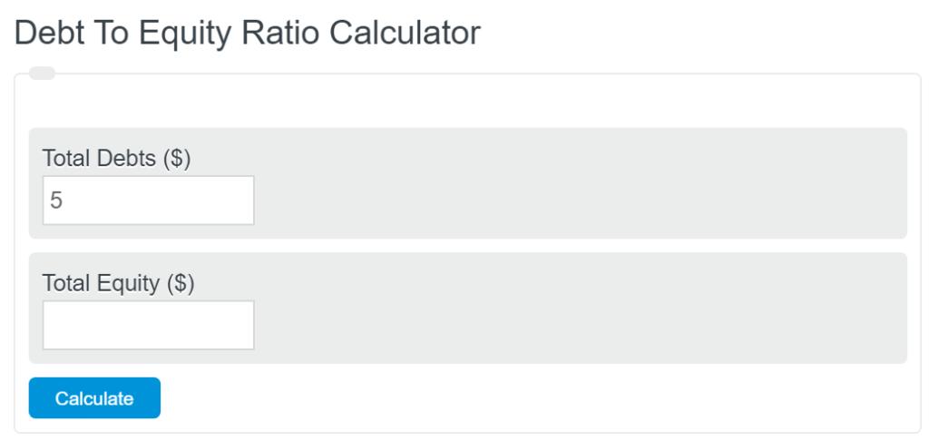 debt to equity ratio calculator