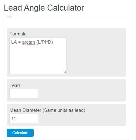 lead angle calculator