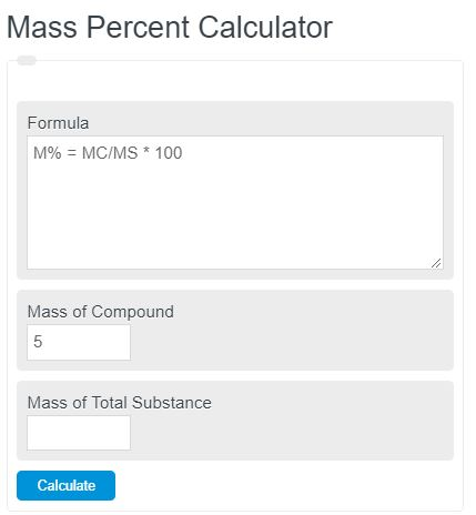 mass percent calculator